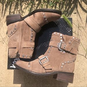 New Sam Edelman Drea Taupe Suede Studded Boots